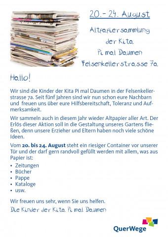 Flyer Pi mal Daumen Altpapiersammlung August 2018