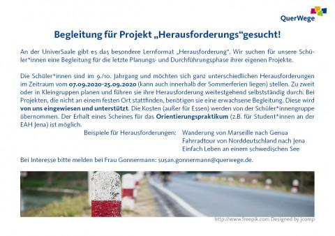 Begleiter*innen für Projekt Herausforderung 2020 gesucht