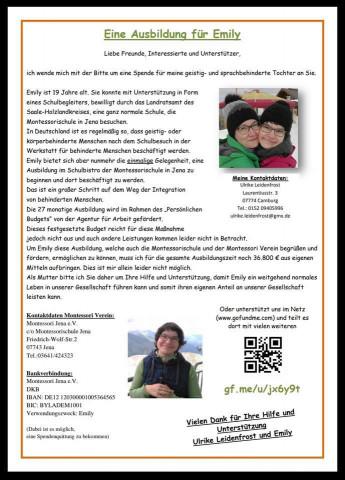 Spendenaufruf für Emily