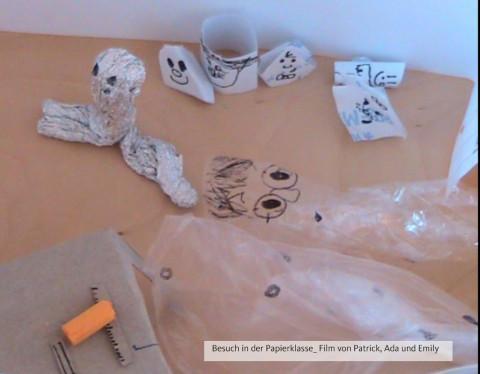 SteinMalEins Tigeraugen_Projekt Gib Abfall einen Korb_ Trickfilm_ Besuch in der Papierklasse von Emily, Ada und Patrick gedreht mit der Medienpädagogin Kerstin Gröper