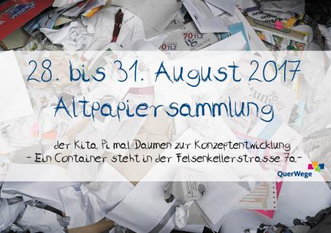 Ankündigung: Altpapiersammlung  der Kita Pi mal Daumen