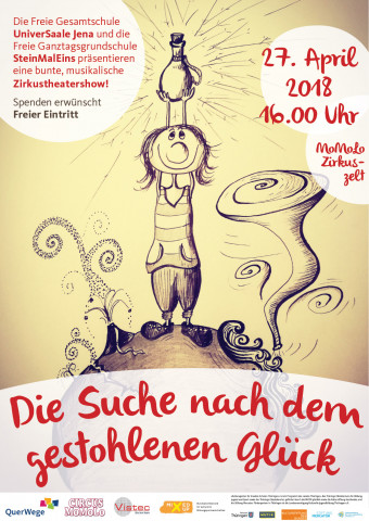 """Plakat für die Zirkustheatersho """"Die Suche nach dem gestohlenen Glück"""""""