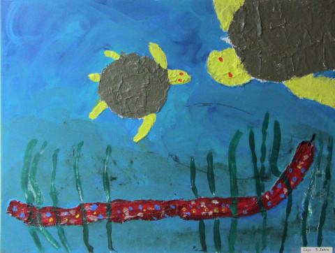 Schildkröten von Caja: Eines von vielen Kunstwerken, die im Rahmen des Palliativ-Projektes entstanden.