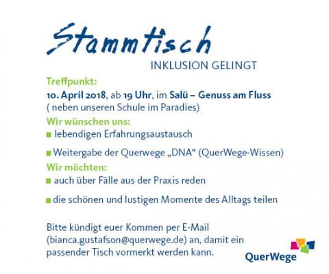 Ankündigung: Stammtisch_ Inklusion gelingt am 10. April, 19 Uhr, im Salü - Genuss am Fluss