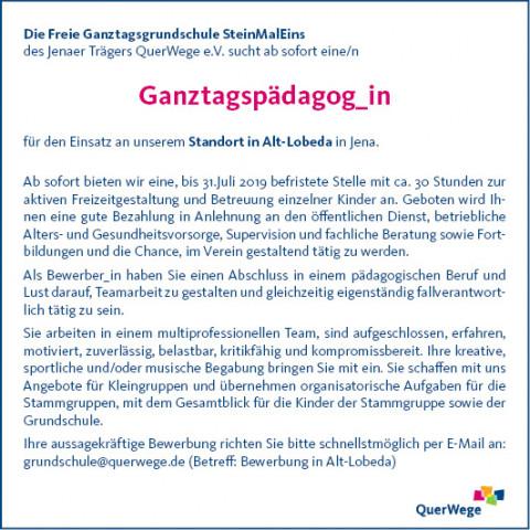 Ganztagspädagog_in für unsere Grundschule in Alt-Lobeda gesucht