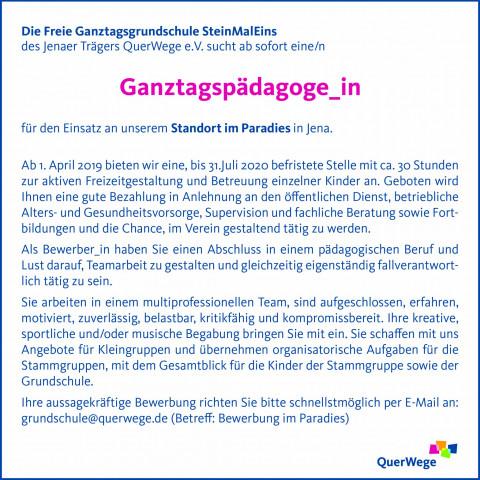 SteinMalEins_Stellenanzeige_Ganztagspädagog_in im Paradies_02_2019