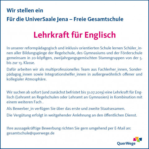 Stellenanzeige UniverSaale Lehrkraft für Englisch