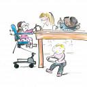 Kita BiLLY Einladung zur zur Informationsveranstaltung für Eltern mit einem Kind  mit Behinderung und  für andere Interessierte, Zeichnung: Benjamin Small