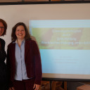 Director of Kita BiLLY, Anke Mamat (right side), with Prof. Dr. Solveig Chilla at the meeting on language education.