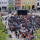 Protest der Freien Schulen gegen Gesetzesentwurf derThüringer Landesregierung 2015 auf dem Jenaer Marktplatz.