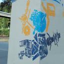 Adern von Jena: Die fertigen Drucke an den Säulen der Fernwärmerohre