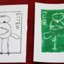 Wackelzahn_Kunstwoche unserer drei QuerWege-Kita's_Kunstwerke der Druckwerkstatt_von der Schablone zum Druck