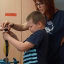Waldprojekttage in Lobeda_Die Wald-Wasser-Wichtel bauen Wasserräder am Mittwoch